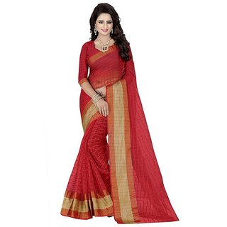 Rite Creation Mart Red Color Poly Cotton Printed Saree -BO314SRedPC-252