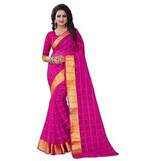 Rite Creation Mart Rani Colour Color Poly Cotton Printed Saree -BO343SRani ColourPC-290