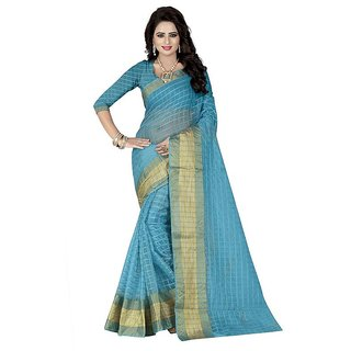 Rite Creation Mart Blue Color Poly Cotton Printed Saree -BO315SBluePC-253
