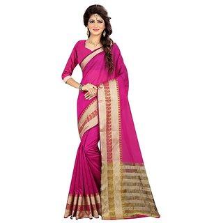 B Online Mart Mangenta Color Poly Silk Printed Saree -BO85_S_Mangenta1