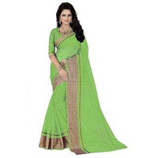 Rite Creation Mart Green Color Poly Cotton Printed Saree -BO317_S_GreenPC-262