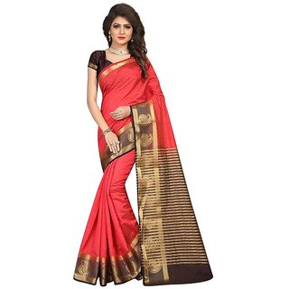 B Online Mart Red Color Nylon silk Printed Saree -BO256_S_Red1
