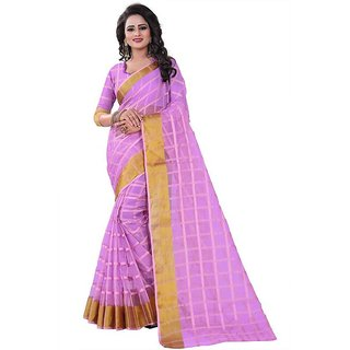 Rite Creation Mart Pink Color Poly Cotton Printed Saree -BO346_S_PinkPC-293