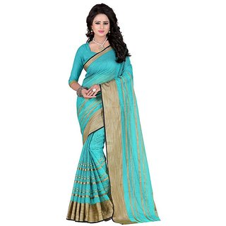 Rite Creation Mart Light Blue Color Poly Cotton Printed Saree -BO318SLight BluePC-264