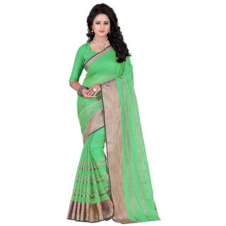 Rite Creation Mart Light Green Color Poly Cotton Printed Saree -BO319SLight GreenPC-265