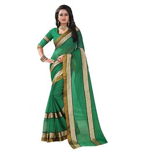 Rite Creation Mart Green Color Poly Cotton Printed Saree -BO320_S_GreenPC-266