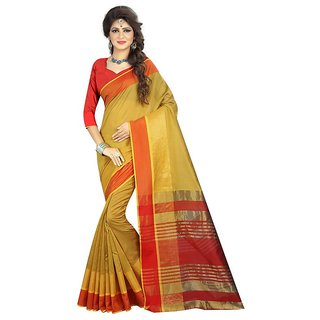 B Online Mart Yellow  Color Poly Cotton Printed Saree -BO91_S_Yellow1