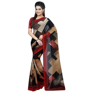 B Online Mart Red  Color Georgette Printed Saree -BO123_S_chikoo_red1