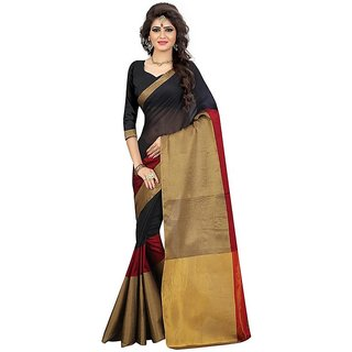 B Online Mart Red  Color Cotton Printed Saree -BO96_S_BRed1