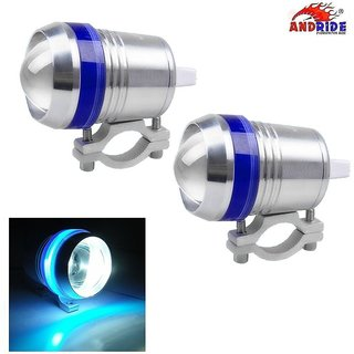 Andride AD-UL3 LED U3 Fog Light with Blue Angel Eyes Motorcycle Headlight Spot Lights Waterproof Bulb Universal Running Working Beam Projector Lamp with High Low and Flashing Beam for Motorcycle Car Truck Boat (Silver Pack of 2)