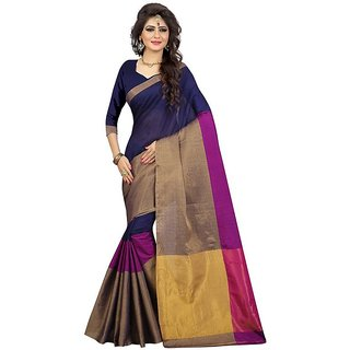 B Online Mart Blue  Color Cotton Printed Saree -BO98_S_RoyalBlue1