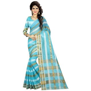 B Online Mart Blue Color Poly Silk Printed Saree -BO239_S_Blue