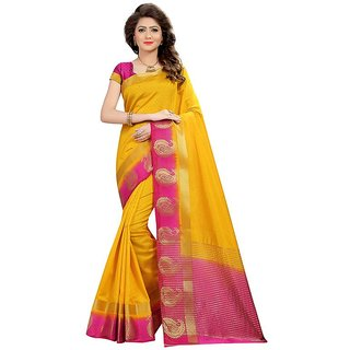 B Online Mart Gold Color Nylon silk Printed Saree -BO244_S_Gold