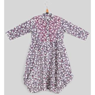 Silver Thread Minnie Print Dress For Girls