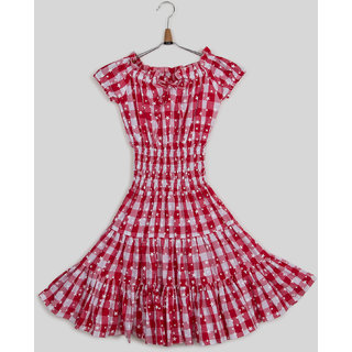 Silver Thread Check Print Dress For Girls