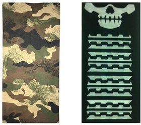 Atyourdoor Men's Polyester Multipurpose Bandana - Set of 2(BanANSkullline2)