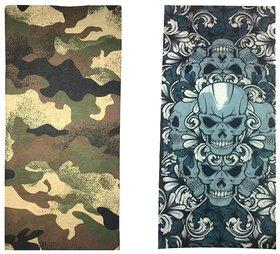 Atyourdoor Men's Polyester Multipurpose Bandana - Set of 2(BanANDoubleskull2)