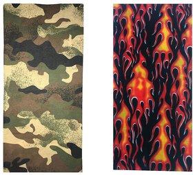 Atyourdoor Men's Polyester Multipurpose Bandana - Set of 2(BanANSmallfire2)
