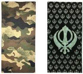 Atyourdoor Men's Polyester Multipurpose Bandana - Set of 2(BanANWhiteKhanda2)