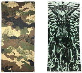 Atyourdoor Men's Polyester Multipurpose Bandana - Set of 2(BanANFlyskull2)