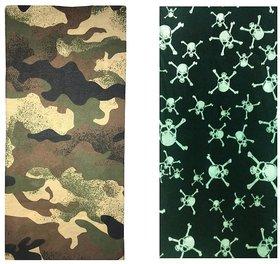 Atyourdoor Men's Polyester Multipurpose Bandana - Set of 2(BanANBlackbone2)