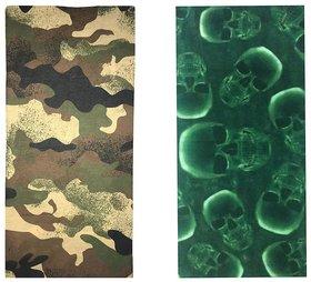 Atyourdoor Men's Polyester Multipurpose Bandana - Set of 2(BanANGreenSkull2)