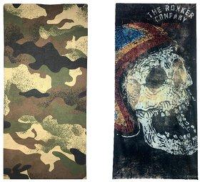 Atyourdoor Men's Polyester Multipurpose Bandana - Set of 2(BanANBlackRokker2)