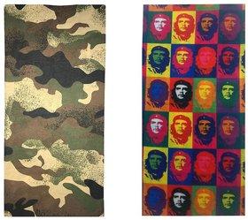 Atyourdoor Men's Polyester Multipurpose Bandana - Set of 2(BanANManyRockstar02)