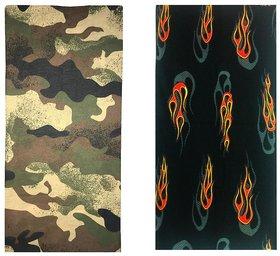 Atyourdoor Men's Polyester Multipurpose Bandana - Set of 2(BanANOrangefire2)