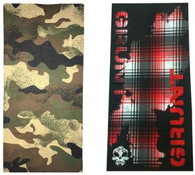 Atyourdoor Men's Polyester Multipurpose Bandana - Set of 2(BanANRedCheck2)
