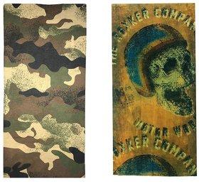 Atyourdoor Men's Polyester Multipurpose Bandana - Set of 2(BanANRokkercompany2)