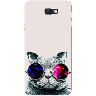 Galaxy J7 Prime Case Thug Cat Grey White Slim Fit Hard Cover Back