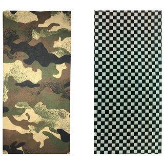 Atyourdoor Men's Polyester Multipurpose Bandana - Set of 2(BanANBWCheck2)