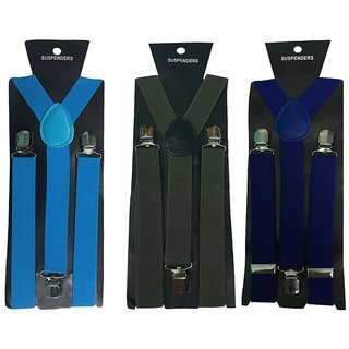 Atyourdoor Y- Back Suspenders for Men(Blue, Green  Royal Blue Color)
