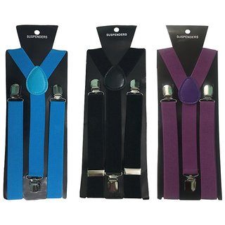 Atyourdoor Y- Back Suspenders for Men(Blue Black Purple Color)