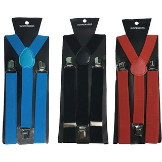 Atyourdoor Y- Back Suspenders for Men(Blue Black Red Color)