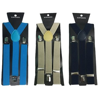 Atyourdoor Y- Back Suspenders for Men(Blue Light Brown Navy Blue Color)