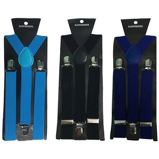 Atyourdoor Y- Back Suspenders for Men(Blue Black Royal Blue Color)