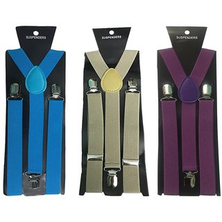 Atyourdoor Y- Back Suspenders for Men(Blue Light Brown Purple Color)