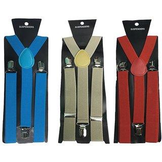 Atyourdoor Y- Back Suspenders for Men(Blue Light Brown Red Color)