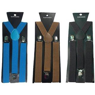 Atyourdoor Y- Back Suspenders for Men(Blue Choco Dark Brown Color)