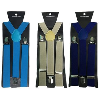 Atyourdoor Y- Back Suspenders for Men(Blue Light Brown Royal Blue Color)