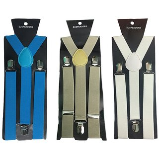 Atyourdoor Y- Back Suspenders for Men(Blue Light Brown White Color)