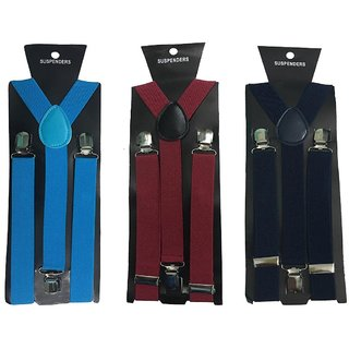 Atyourdoor Y- Back Suspenders for Men(Blue Maroon Navy Blue Color)