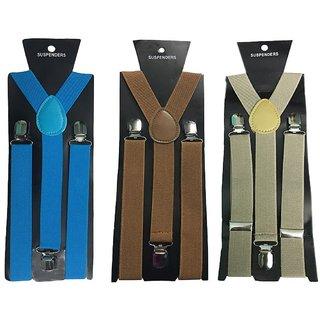Atyourdoor Y- Back Suspenders for Men(Blue Choco Light Brown Color)