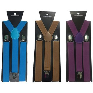Atyourdoor Y- Back Suspenders for Men(Blue Choco Purple Color)