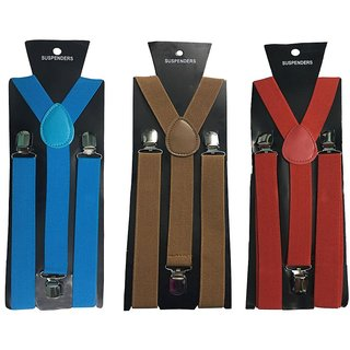 Atyourdoor Y- Back Suspenders for Men(Blue Choco Red Color)