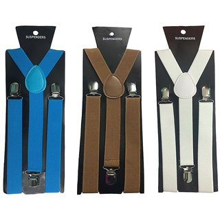 Atyourdoor Y- Back Suspenders for Men(Blue Choco White Color)