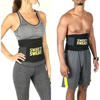 Unisex Sweat Waist Trimmer Fat Burner Belly Tummy Yoga Wrap Black Exercise Body Slim look Belt Free Size SWEAT BELT) CODE-SWEATHMB241