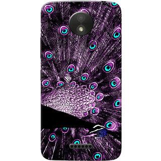 Moto C Plus Case, Peacock With Feathers Purple Slim Fit Hard Case Cover/Back Cover for Motorola Moto C Plus